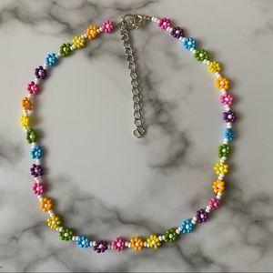 Frankie rainbow daisy chain choker necklace